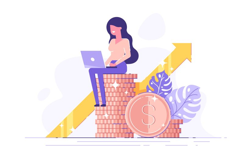 An illustration of a woman working on a laptop while sitting on a stack of coins.
