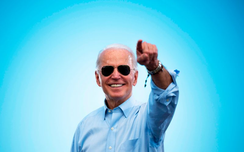 Joe Biden pointing to a crowd