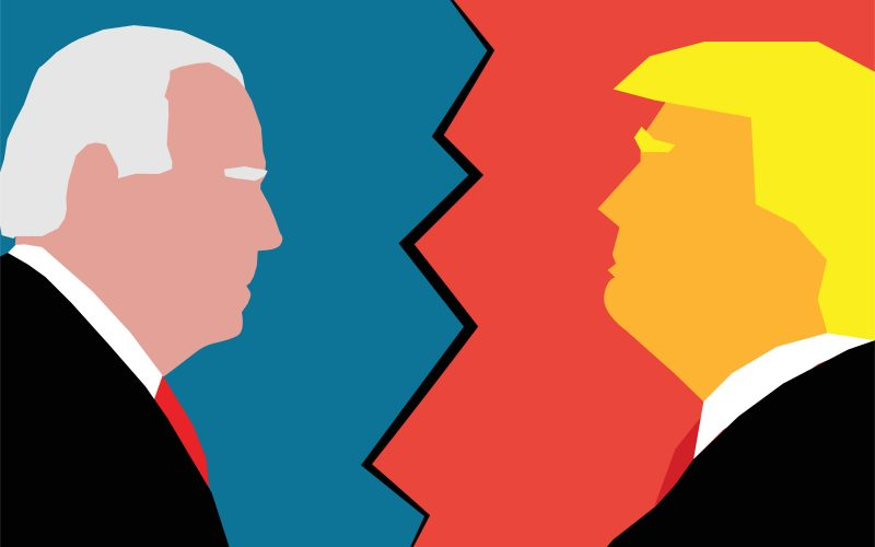 An illustration of Joe Biden and Donald Trump facing each other in profile.