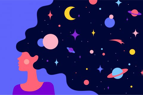 An illustration of a dark-haired woman dreaming of space
