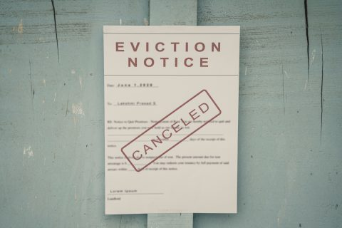 An eviction notice taped to a door