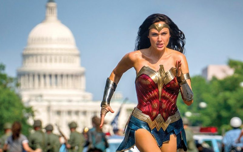 Gal Gadot as Wonder Woman running through the streets of Washington D.C.