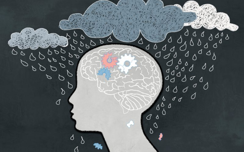 An illustration of the brain being clouded by rain.