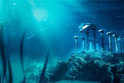 An illustration of an ancient temple submerged on the ocean floor