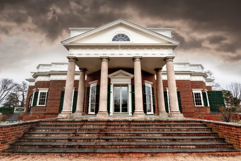 Rain clouds form behind Thomas Jefferson's Monticello, once a working plantation site.