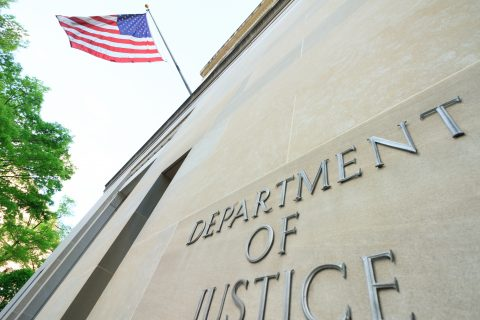 The northern facade of the Department of Justice building in the nations capital