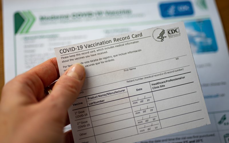 A photo of a COVID-19 vaccination card.