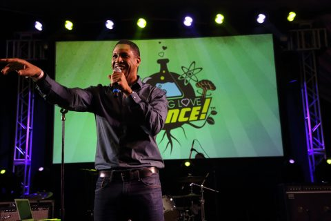 Hakeem Oluseyi performs at the I F-ing Love Science Channel event