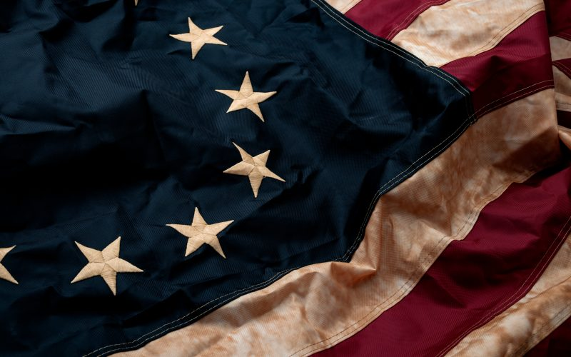 A close-up image of the American flag.