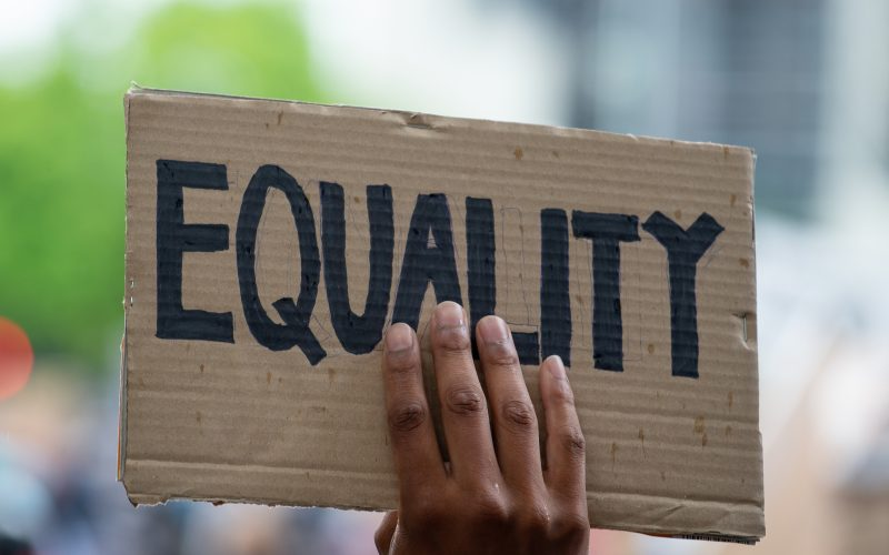 """A photo of someone holding a sign that reads, """"equality."""""""