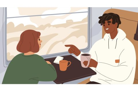 Photo illustration of passengers on a train talking and drinking coffee.