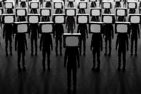 Photo illustration of television manipulation and crowd control.