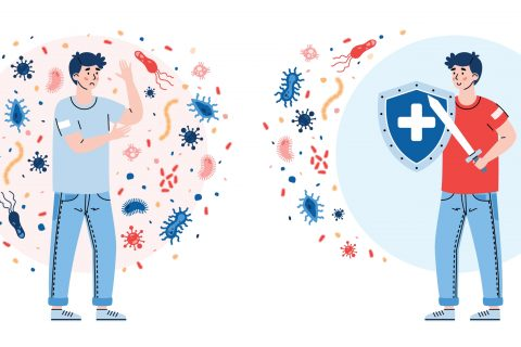 Photo illustration of the immune systems fighting.
